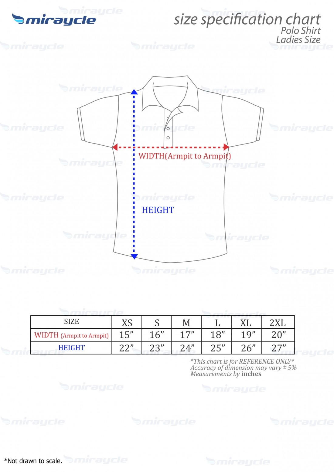 Ladies Polo Size Chart