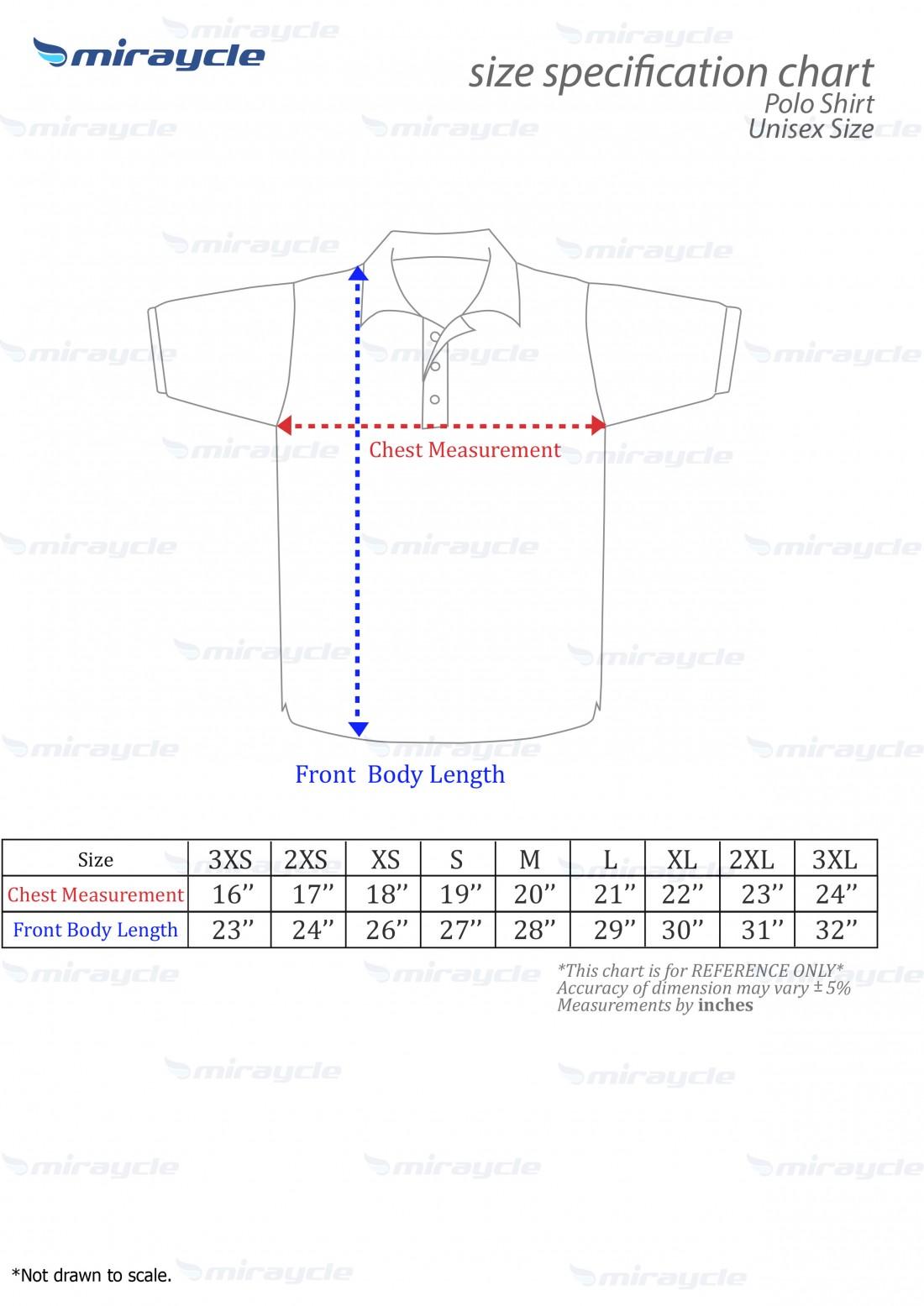 Unisex Polo Size Chart